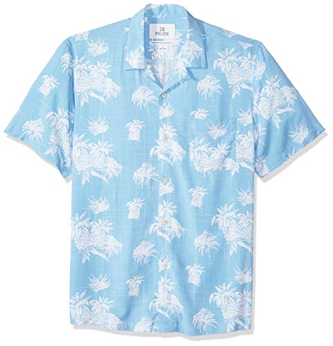 Marca Amazon - 28 Palms - Camisa vintage de rayón 100 % lavado y con corte estándar para hombre, diseño tropical hawaiano