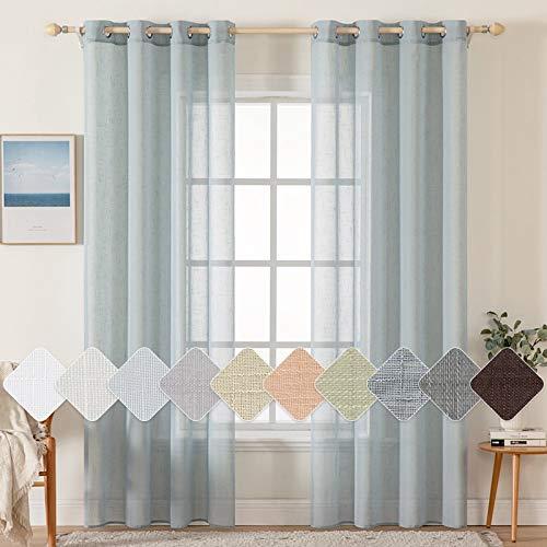 MIULEE 2er Set Voile Vorhang Sheer Leinenvorhang mit Ösen Transparente Leinen Optik Gardine Ösenschal Wohnzimmer Fensterschal Lichtdurchlässig Dekoschal Schlafzimmer 140x280cm (B x H) Grau-blau