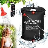 Sylanda Solardusche Camping, Tragbare Camping Duschtasche, 20L Solardusche Garten, Outdoor Mobile Dusche mit Thermometer Wassersack Reisedusche mit Duschkopf Schlauch Tasche für Wandern/Pool Shower