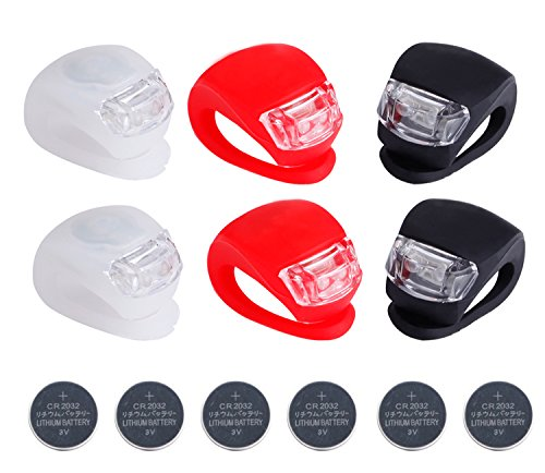 Deruicent 6pcs/Set Bicycle Lights Super Frog Silicone LED Bike Light MultiPurpose Water Resistant Headlight Red  White  Black  Battery