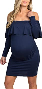 Coolmee Maternity Off Shoulder Women's Maxi Dress + Winter Beanie Hat