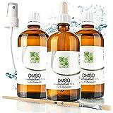 DMSO 100 ml - 70% + Sprühkopf + Naturpinsel + Pipette - pharmazeutische Reinheit (Eur. Ph.) - aus Deutschland - geruchsneutral (3 x DMSO 70% + Sprühkopf + Pinsel + Pipette)