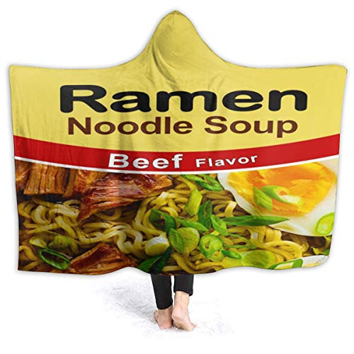AMITAYUS Ultra Soft Light Weight Hooded Throw Blanket Ramen Noodle Soup Beef Flavor Comfy Fluffy Quilt for Bed Couch Sofa Living Room Picnic Suitable All Seasons 60
