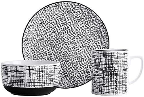 JXH Juego de platos de cena, 3 piezas de cena de cerámica de aspecto vintage con 1 taza, 1 plato de cena y 1 tazón de cereales servicio para 1 persona, Euro Ceramica