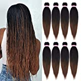 Pre-stretched Braiding Hair Extension Ombre Natural Black Brown Professional Crochet Braiding Hair 20 Inch 8 Packs Hot Water Setting Perm Yaki Synthetic Hair for Twist Braids (#1B/30)