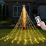 Decute Christmas Decorations Star String Lights 8 Modes and Timer with Remote, Waterproof 320 Led Christmas Tree Toppers Fairy Lights for Indoor Outdoor Yard Garden Backyard Holiday Decor Warm White