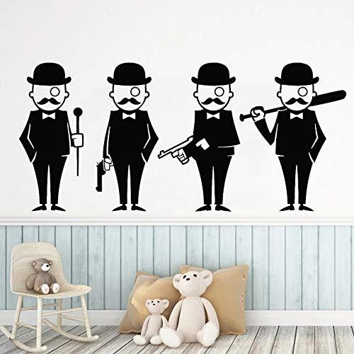 WERWN Caballero de Dibujos Animados Pegatinas de Pared Hombre Sombrero niño Traje Dormitorio calcomanía decoración de la Pared de la habitación
