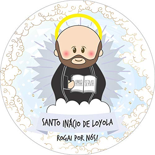Painel de Lona Redondo Santinhos Católicos Santo Inácio de Loyola - 190x190cm