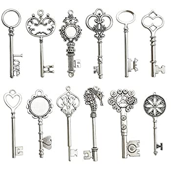 12PCS Antique Silver Huge Skeleton Key Craft Supplies Charms Pendants for Crafting Wholesale Bulk Lots Heart Royal Keys Jewelry Findings Making Accessory for DIY Necklace Bracelet CFM102