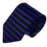 LORENZO CANA Hochwertige Designer Krawatte aus 100% Seide Markenkrawatte quer gestreift Schwarz Blau Business 84579