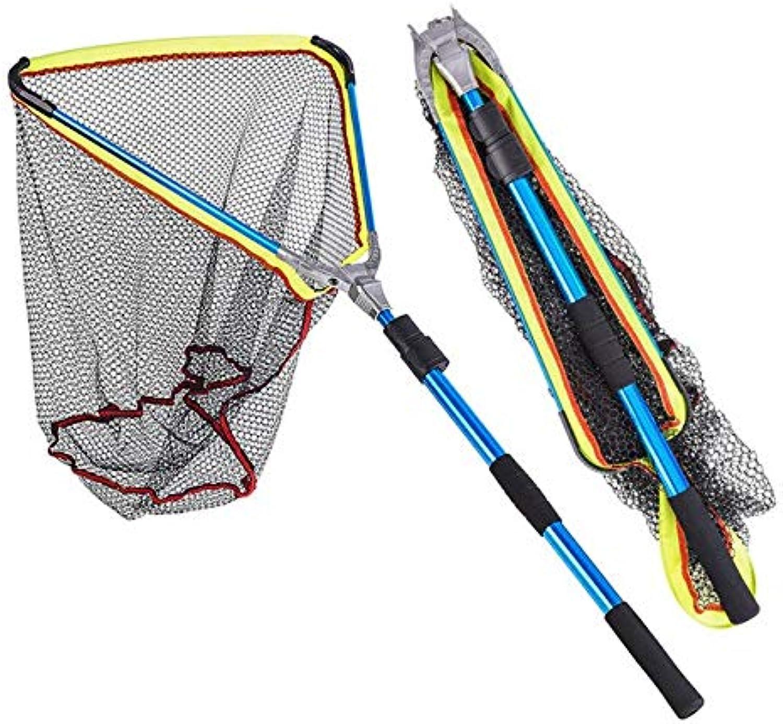 200cm Aluminum Alloy Folding Fishing Landing Net Portable Triangular Extending Pole Handle Casting Network Trap Fishing nets   blueee