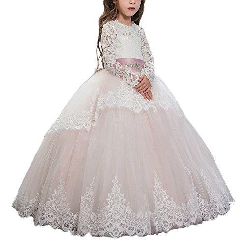 Girls Pageant Dresses Applique Ball Gown Tulle Princess Prom Party Dresses02 US Blush