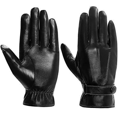 Cassiecy Handschuhe Herren Winter Touchscreen Lederhandschuhe Warme Gefüttert Motorradhandschuhe (Schwarz,M)