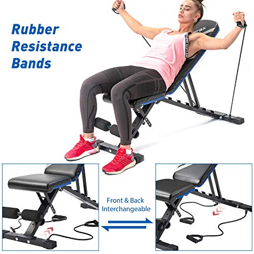 Merax Adjustable Workout Bench with Resistance Bands, Folding Utility 500LBS Super Max Weight Bench 7 Position AB Incline Gym Equipment