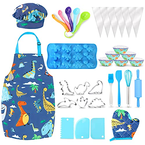 Aoskie Kids Baking Set with Dinosaur Apron and Chef Hat, Cooking Chef Set Baking Supplies Dress Up Role Play Toys Gift for 3-8 Years Old