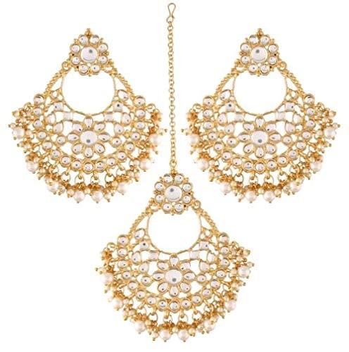 Aheli Elegante India tradicional Kundan Pearl Maang Tikka con pendientes Set para mujeres étnicas Bollywood Party Jewelry (Blanco)