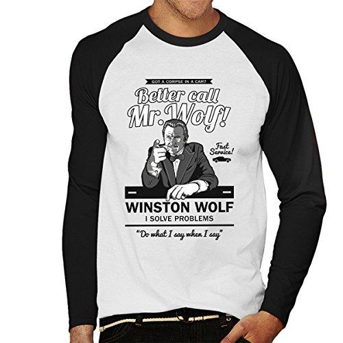 Better Call Mr Wolf Pulp Fiction Men's Baseball Long Sleeved T-Shirt
