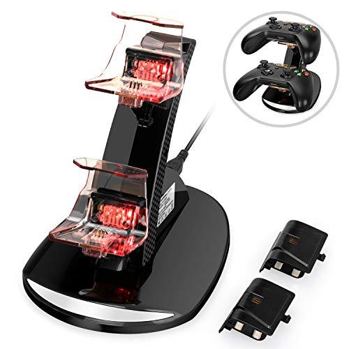 YCCTEAM Xbox One Controller Akku, Xbox One Ladedock mit 2 Stück 1200mA Akkus für Xbox One/ S/ X/ Elite Controller