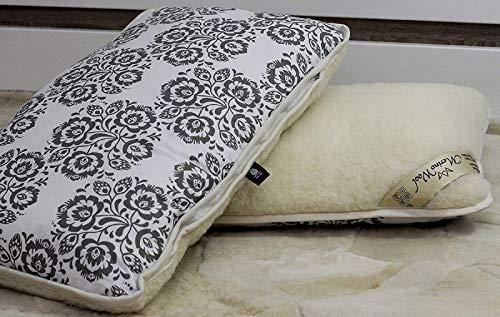 Merino Wool Juego de 2 almohadas de lana estándar de 45 x 75 cm, lana y algodón natural, funda de algodón con cremallera