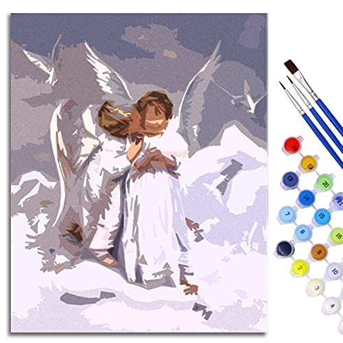 ART Pintura DIY por números para adultos, niños y principiantes Besando a angel baby Lienzo de lino Acrílico Frameless 40x50cm
