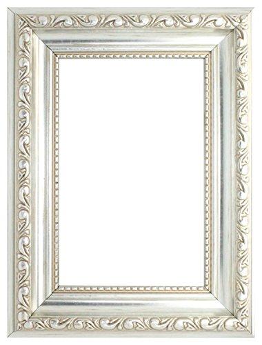 Verzierter Bilderrahmen im Shabby Chic - Posterrahmen aus bruchsicheren Plexiglas aus Styrol für hohe Klarheit - Silber- 21,0 x 29,7 cm Größen erhältlich