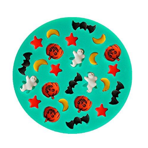 Halloween Zeichnungen mit Monde Sterne Kürbisse Geister Fledermäuse Silikon Fondant Kuchen Formen