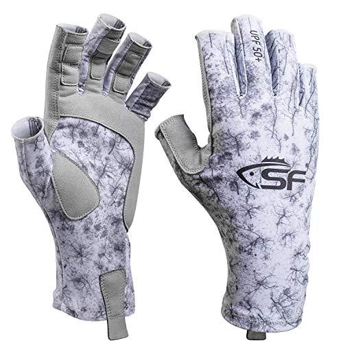 SF UV Protection Fishing Gloves UPF50+ Sun Protective Fingerless Gloves Men Women for Kayaking, Hiking, Rowing, Paddling, Driving # S/M