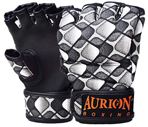 Aurion MMA Gloves for Grappling Martial Arts, Open Palm Maya Hide Convex Leather Sparring Mitts for Cage Fighting, Kickboxing, Punching Bag, Muay (Black / White, M)