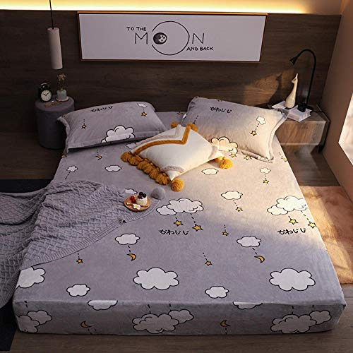 LCFCYY Waterproof Mattress Protector, Anti-mite, Antibacterial,Mattress Topper,Winter warm crystal velvet mattress cover, thick printed mattress topper suitable for single and double-R_180cmx200cm