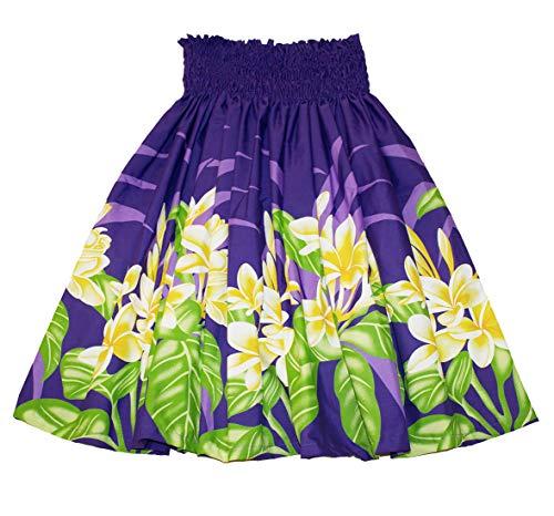 夏威夷pa'u hula裙子与蓝色和紫色的花朵印刷品