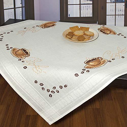 Ernst Schäfer Stickpackung Cafe, Kreuzstich Tischdecken Set vorgezeichnet zum Sticken, Stickset zum Selbersticken