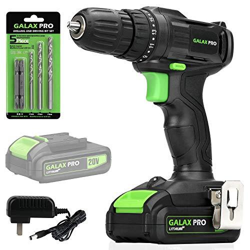GALAX PRO Controlador de taladro inalámbrico de 20V, batería y cargador incluidos