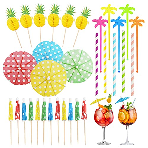 Exllena 85 PCS Cocktail Party Decorations Drinks, Cocktail Picks, Paper Umbrellas, Cocktail Tree Stirrers, Cocktail Straws for Drinks, Ideal for Hawaiian Tropical Party Decoration-Mixed Colors