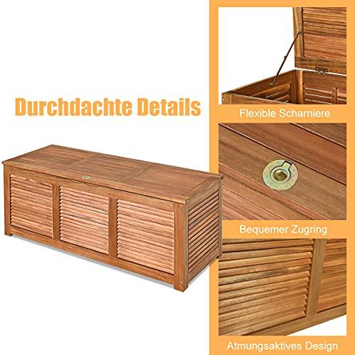 COSTWAY Gartenbox Akazienholz Massiv Gartenbank Auflagenbox Kissenbox Gartentruhe Aufbewahrungsbox für Garten und Hinterhof 120x45x45cm - 3