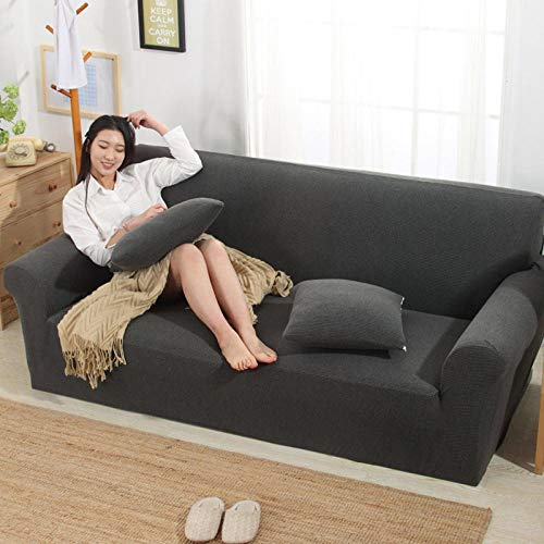 HXTSWGS Sofabezug Hotel Indoor,tretch Sofa Covers, 3 Seater Couch Covers for Living Room Sofa Slipcovers Furniture Covers with Elastic Bottom-Space Gray_90-140cm