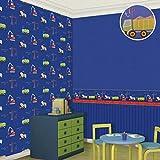 AG Papel Pintado de Simplicidad Moderna, Blue Boy Revestimientos de Paredes Dormitorio Medio Ambiente Dibujos Animados Construcción Vehículo Transporte Papel de Pared Habitación de niños Papel Tapiz