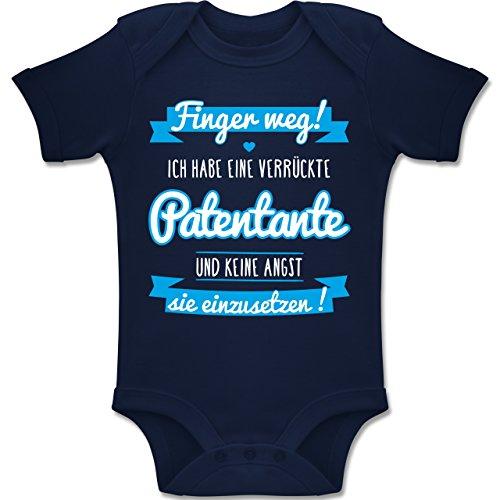Shirtracer Sprüche Baby - Ich Habe eine verrückte Patentante blau - 3/6 Monate - Navy Blau - BZ10 - Baby Body Kurzarm für Jungen und Mädchen