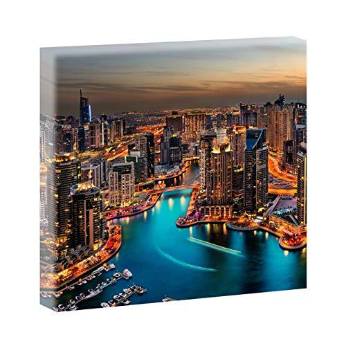 Querfarben Bild auf Leinwand mit Stadt-Motiv Dubai Wolkenkratzer   100 x 100 cm, Farbig, Wandbild, Leinwandbild mit Kunstdruck, Städtebild fertig auf Holzrahmen gespannt, 100x100 cm