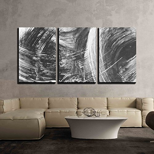 wall26 - 3 Piece Canvas Wall Art - Black and White Abstract Brush Painting