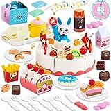 HERSITY 85 Stück Geburtstagstorte Lebensmittel Kinderküche Spielzeug Kuchen Schneiden Spielküche Zubehör Geschenke Rollenspiele Kinder