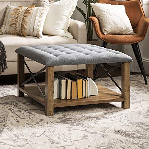 Walker Edison Tufted Upholstered Fabric Ottoman Stool