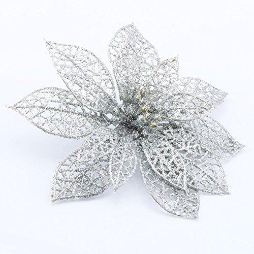 Yosoo 6ST Christmas Flower Arrangements Kränze und Weihnachtsschmuck Christbaumschmuck Perlen (Silver)