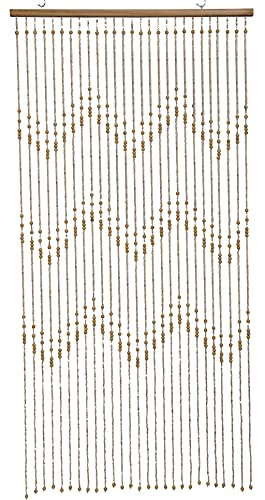 Natural Bamboo Wood Beaded Curtain Ziggy 27 Strands 72 inch Heigh ,Zig Zag Pattern Bamboo and Wooden Doorway Beads-Boho Bohemian Curtain (Ivory, 1pc 3FTx6FT)