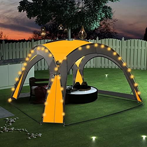 Festnight Event Pavillon Partyzelt Eventzelt Beleuchtung Solarlampen Festzelt Gartenpavillon mit 4 Seitenwänden Gartenzelt Garten Pavillion Camping Festival Party 3,6x3,6x2,3 m