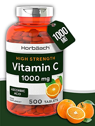 Vitamin C 1000mg | 500 Tablets | Immune Support | Over 1 Year Supply! | Non-GMO, Gluten Free & Vegan | by Horbaach