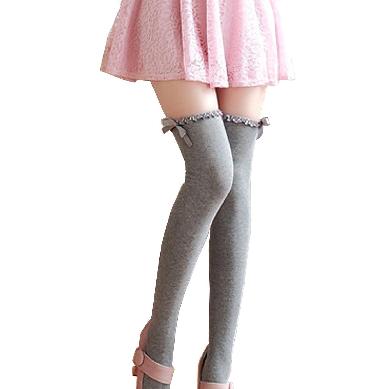 オーバー ニー ハイソックス レディース 靴下 リボン ひざ上 美脚 コットン 女性 ガールズ 選べる4色
