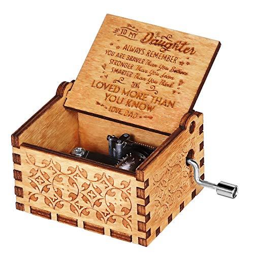 OMZGXGOD Caja de música de Madera manivela, Caja de Música de Manivela de Madera Caja Musical Tallada a Mano del Tema Retro Mejor Regalo para Pareja Niños Amigos (Papá a Hija)