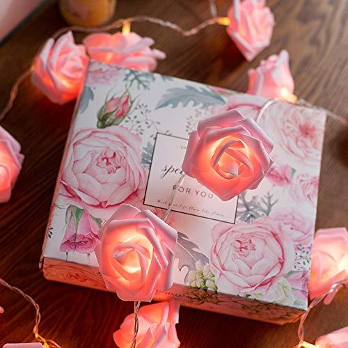 Les lantaarn lichtsnoer, waterdicht, led-snoer fee, voor buiten, roze, batterij, waterdicht, roze lichtsnoer, roze, rood, 5 meter 40 lichten