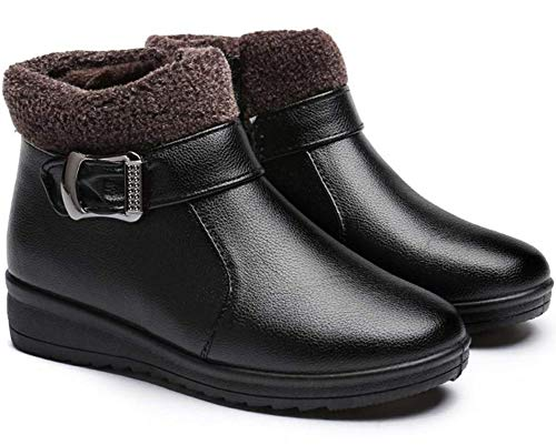 PAMRAY Botas Mujer Invierno Botines Impermeable Nieve Zapatos Caliente Forrado Warm Calzado Cremallera Boots Plataforma Ligero Outdoor Skate Negro