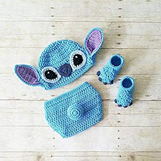 c3bf697547c79 Crochet Stitch Hat Beanie Diaper Cover Shoes Lilo and Stitch Disney Costume Infant  Newborn Baby Photography